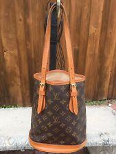 Authentic Louis Vuitton Brown Monogram LV PM Bucket Shoulder Hand Bag /20042