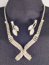 Vtg 'International' Clear Prong Set Pave Rhinestone Runway Necklace P. Earrings