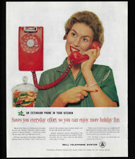 1959 Vintage Print Ad 50's BELL TELEPHONE SYSTEM red phone woman talking image