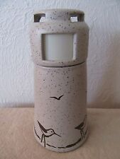 Vintage 1984 Sanibel Pottery Lighthouse w/ birds Oil Lamp,Used,9 1/2 in.high.
