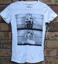 New Ladies Lady Gaga Police Paparazzi White Cotton T Shirt