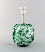 Kastrup / Holmegaard. Rare round table lamp in dark green and white glass