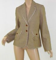 NWT BRIGITTE VON BOCH Speckled Beige Linen w/ White Piping Blazer Jacket 40 M 10