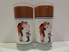 Norman Rockwell 1930 The Milkman & The Young Couple Set of 2 Brown Glasses 6.5""