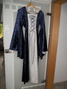 Mittelalter Kleid mit Kapuze und Schnürung, blau/weiß, Größe S