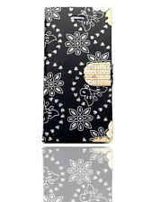 Bling Diamond Butterfly Flowers Leather Flip Wallet Case Pouch For Mobile Phone