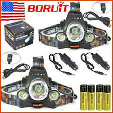 2 x BORUiT 13000lm 3XXM-L T6 LED Headlamp Headlight 18650 Battery + Charger Sets