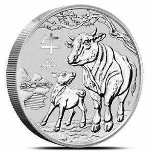 2021 5 oz Silver Lunar Year of The Ox BU Australian Perth Mint In Cap