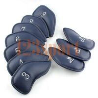 Craftsman Golf Leather Club Iron Covers Set of 10 Blue Fit Titleist,Callaway,Etc
