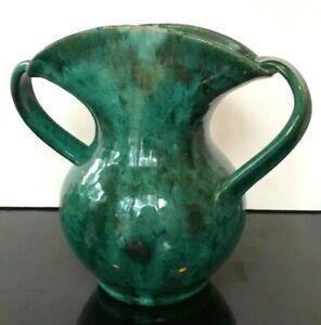 Antique JB COLE North Carolina Art Pottery Offset Swirling Handles Mottled Green