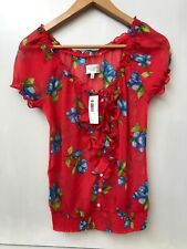 GILLY HICKS Red with Blue Floral Print Ruffle Collar Sheer Top Size XS NWT