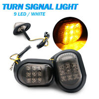 2x 9 LED Motorcycle Motorbike Flush Mount Turn Signal Indicators Light Amber