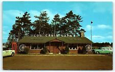 Postcard WI Schofield Log Cabin Cafe Restaurant 1950s Cars Telephone Booth R52