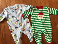 2 EUC Christmas Outfit Boy O 3 M Mos Holiday Snowman Santa fleece sleeper baby