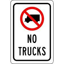 """No Trucks -  Aluminum Metal Sign - 8"""" x 12"""" - UV Resistant - Will Not Rust"""
