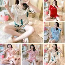 Women Silk Satin Pajamas Set Sleepwear Comfort Pyjamas Short Sleeve Nightwear