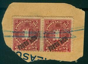 Puerto Rico, 1c postage due, PAIR, blue pencil cancels #J1