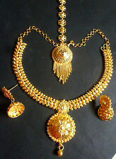 22K Gold Plated 8'' Long South Indian Wedding Necklace Jewelry Earrings Set C
