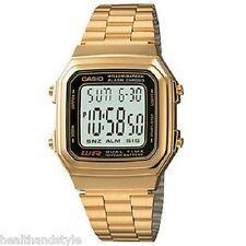 Casio A178WGA-1A Mens Gold Tone Stainless Steel Digital Watch with Casio Box