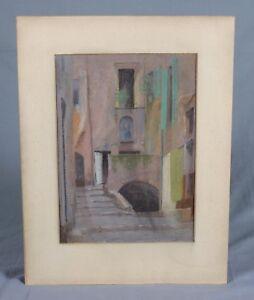 Vintage Pastel Drawing A Venetian Alleyway