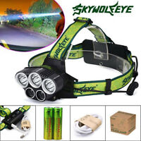 Skywolfeye 120000 Lumen 5LED Headlamp Rechargeable 18650 Headlight Flashlight US