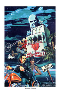 Dave Mann Ed Roth Studios Print Poster Motorcycle Psychedelic Love Temple