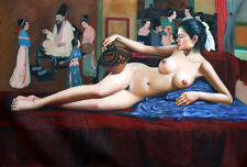 """Hand Painted Nude Lady Oil Painting Collectible Wall Decor Art 36"""" x 24"""" New"""