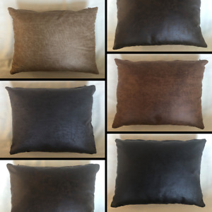 Faux Distressed Leather Rectangle Cushion Cover Handmade Pillow Case Sofa Bed
