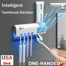 Toothbrush Holder Clean Set Wall Mount Automatic Toothpaste Dispenser Led Light
