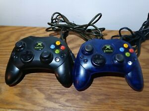 Original Xbox S-Type Controller Black and Blue Genuine OEM NO BREAKAWAY CABLE