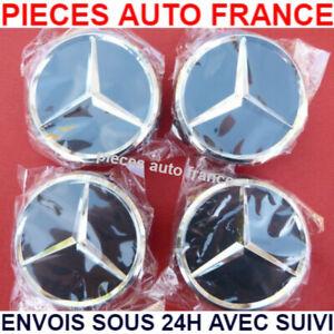 4pcs Centre de Roue Cache Moyeu 75mm Noir Mercedes Classe A B C E V R Vito Viano