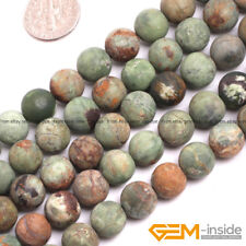 """10mm Green Opal Gemstone Matte Round Loose Spacer Beads For Jewelry Making 15"""""""