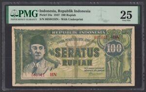 Indonesia 100 Rupiah 1947 (Pick 24a) PMG-25 (065041 HN)