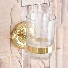 Gold Color Brass Single Tumbler Holder Toothbrush Cup Bathroom Accessory fba591