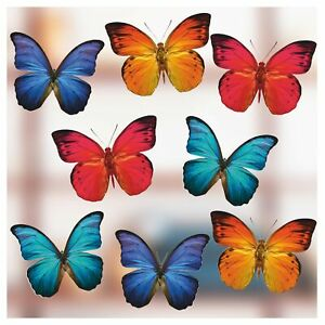 Set of Large Coloured Butterfly, Double Sided, Static Cling Window Stickers