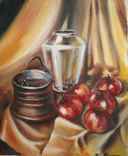 1996 European art oil painting still life with apples signed
