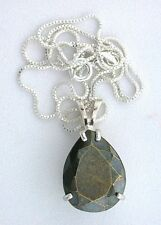 20x15 Pear Natural Faceted Pyrite Gemstone Sterling Pendant Italian Silver Chain