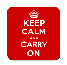 DRINK COASTERS - Keep Calm and Carry On - Set of 4 - glossy wood bar accessories