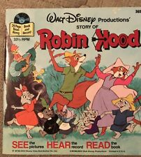 Walt Disney Story Of Robin Hood Book and 33 1/3 RPM Record 1973 &1977 Edition