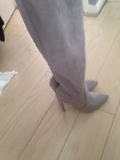 Knee High Boots Grey Swede