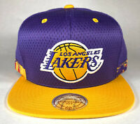 Mitchell and Ness NBA Los Angeles Lakers Woven Stripe Snapback Hat, Cap, New