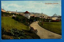 OLD POSTCARD THE GARDENS PORTLAND DORSET NR FORTUNESWELL WEYMOUTH DORCHESTER