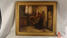 Antique 1920 J Provost Woman W/ Spinnning Wheel & Cat O/C Painting