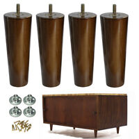Furniture Feet 6'' Walnut Couch Legs Round Dresser Cabinet Riser Legs Set of 4