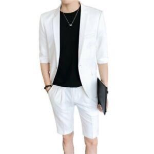 Summer Mens Suit 2PCS Blazer Jacket Shorts Half Sleeve Slim Fit Wedding Party L