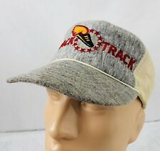 Vtg Track Trucker Hat Snapback Heather Gray Cap Shoes