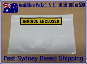 LARGE A5 230 x 175mm WHITE INVOICE ENCLOSED Envelope Document Sticker Pouch