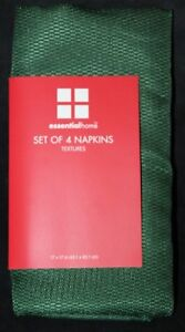 Essential Home Textures Holiday Table Napkins/Napkin Set GREEN 4-pack
