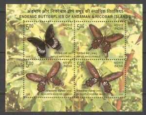 India 2008 Endemic Butterflies Andaman Nicobar Butterfly Minisheet MNH