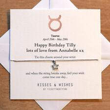 Personalised Handmade TAURUS BIRTHDAY Wish Bracelet - Zodiac Sign, Horoscope